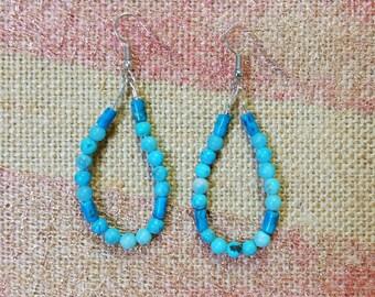 Simple, Blue, Loop Earrings