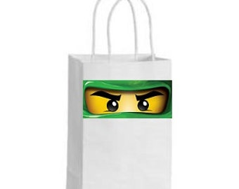 8 Printed Green Ninjago inspired eyes for Boxes, Balloons or goody bags, Stickers