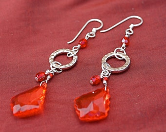 Classy Ruby-red dangle earrings with Swarovski Crystal Pendant