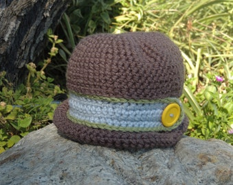 Baby Boy Bucket Hat, Crocheted Baby Hat, Boy's Cap, Photo Prop, Gift for Baby, Baby Shower Gift, GladstoneCottage