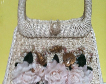 Vintage Purse With Silk Flowers And Gold Painted Shells