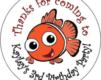 12 Finding Nemo Boy or Girl Birthday Party Stickers 2.5 inch Round Personalized kids