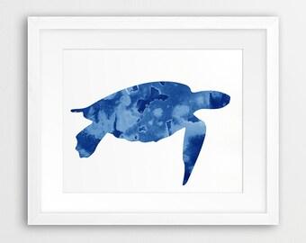 Turtle Watercolor Print, Sea Life Wall Art, Turtle Watercolor Navy Blue Cyan, Nautical Art, Sea Summer Wall Art, Nursery Decor Printable Art