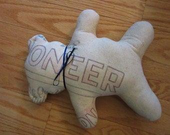 Vintage Teddy Bear Made from Pioneer Sugar Sack