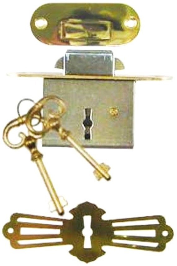 Roll Top Desk Lock Set Rounded Plates M 1802 With Brass