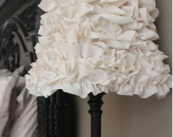 White (or any custom color) Ruffle Lamp Shade  FREE SHIPPING!!!