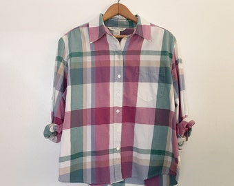vintage relaxed plaid button up shirt m/l