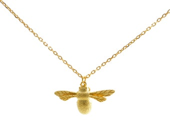 Gold Plated Sterling Silver (Vermeil) Bumble Bee Pendant Necklace with Intricate Details 16'' - 18''