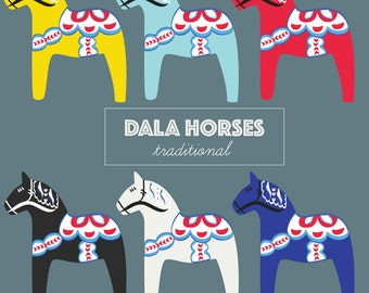 Dala Horse Clipart: Clip art Scandinavian horses for commercial or personal use in vector format. (EPS, PNG, JPEGs included)