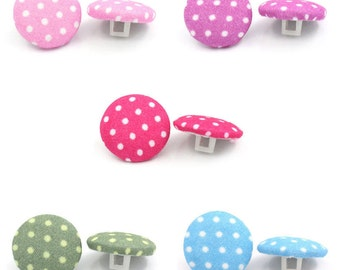 30 x 15mm fabric covered polka dot buttons with shank