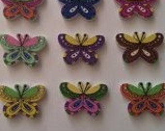 15 x wooden butterfly 2 hole buttons