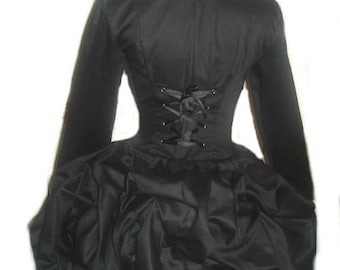 Bustle Steampunk Jacket Goth Gothic Military Jacket  Steam Punk Black Jacket Halloween Costume Custom Size including Plus Sizes