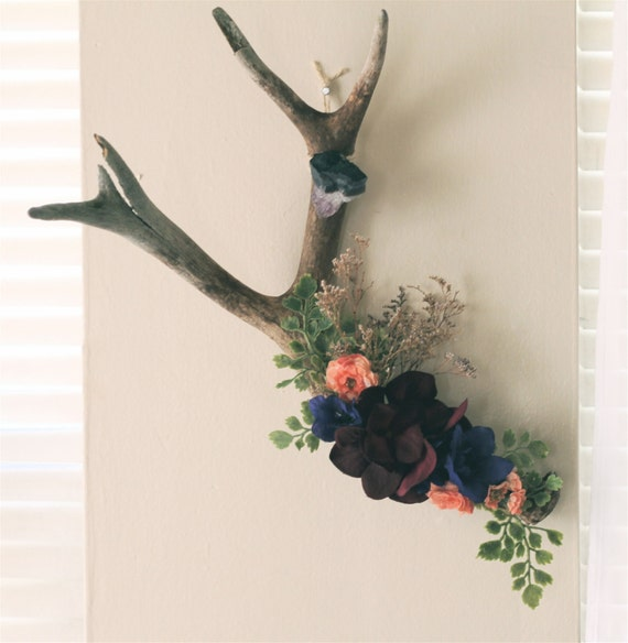 Floral Antler Wall Hanging