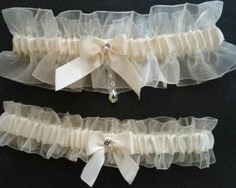White sheer organza garter set, Ivory satin, Crystal, Rhinestone, Wedding garter, Bridal garter, Prom garter, Garter set, Custom garter