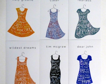 Taylor Swift Dress Illustrations INCLUDES ALL SIX