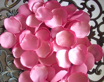 handmade pink wedding rose petals,Set of 100  pink  satin rose petals, wedding decoration, table decoration, fabric flowers