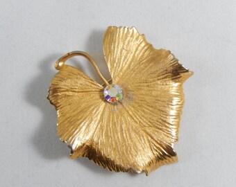 Vintage Coro Goldtone Leaf with AB Crystal