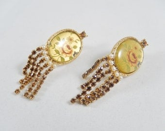 Floral Picture Under Glass with Rhinestone Dangles Clip Earrings 1990