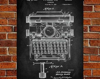 Typewriter Art Print, Typewriter Patent, Typewriter Vintage, Typewriter Blueprint, Typewriter Print, Typewriter Prints, Wall Art, Decor