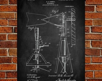 Windmill Fine Art Prints, Patent, Vintage Art, Blueprint, Poster, Patent Prints, Wall Art, Décor