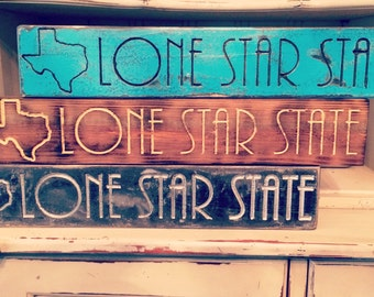 """TEXAS Lone Star State Home Decor! - Rustic Finish - (Natural, Sea Blue, Hammered Black) (Whitewood Material 20""""x 3.5""""x 1.5""""), Dorm Room"""