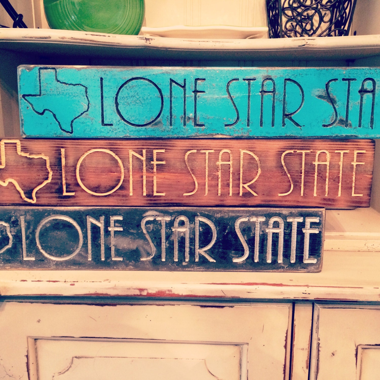 Texas lone star state home decor rustic finish by shopatbear for Lone star home decor
