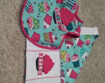 Bib and Burp Cloth Combo with 2 different designs