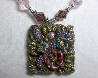 Floral Bouquet Polymer Clay Beaded Necklace