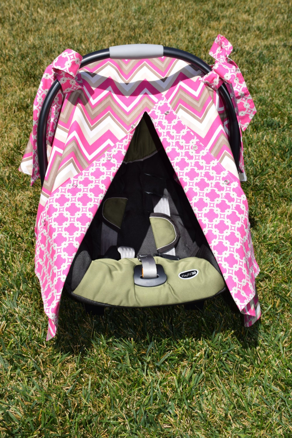 baby girl infant car seat canopy cover snaps open closed. Black Bedroom Furniture Sets. Home Design Ideas