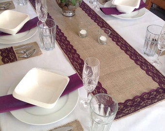 Natural Burlap/hessian with Plum Purple Lace Table Runner