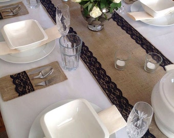 Natural Burlap/hessian with Navy Blue Lace Table Runner