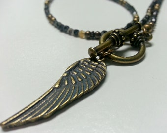 Goes with Everything Neutral Czech Glass and Antiqued Brass Wing Necklace