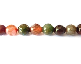 Multicolor pearl faceted agate PCH0100 Ø 10mm wire length of 35 cm