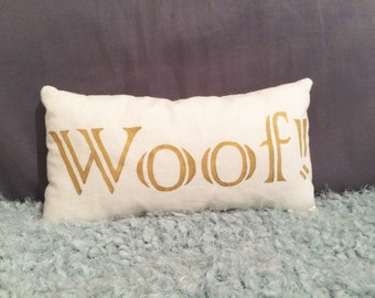 Gold WOOF Decorative Pillow
