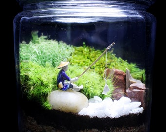 Terrarium/Zen Fisherman Terrarium/Japanese Garden Terrarium/Moss Terrarium/TerraSphere