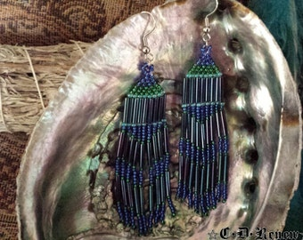 Native Beaded Earrings in Emerald and Sapphire