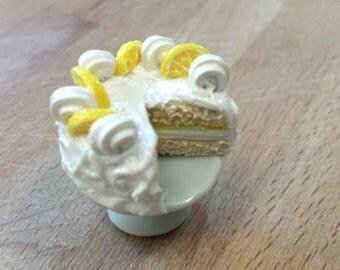 Lemon Citrus Vanilla Chiffon Cake on a Pedestal Magnet