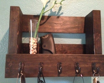 Solid Reclaimed Wood Key and Coat Holder