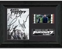 Fast & Furious 7 35 mm Framed Film Cell Display S2 Comic Con Fan Art Signed Vin Diesel ,Paul walker