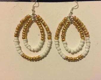 Gold White Double Hoop Earrings