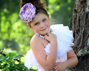 Light Pink and Purple Singed Flower Headband