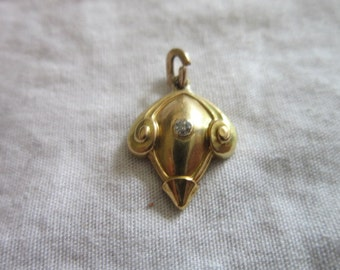 Antique 14 K solid gold & real Diamond Charm or Pendant Beautiful