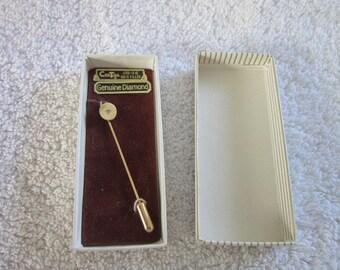 Vintage 12k Gold Filled & Genuine Diamond Stickpin in original box