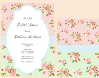 Editable Baby Shower Invitations, Editable Bridal Shower Invitations, Editable Birthday Invitation, Mintm Shabby Chic, floral BS52 TLC43