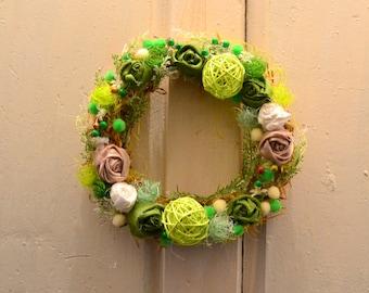 Green summer wreath, Front door,spring,autumn,