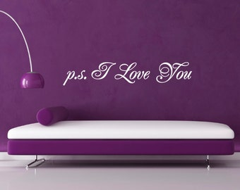 p.s. I Love You Wall Decal / Sticker - Script Style Symbol of Love