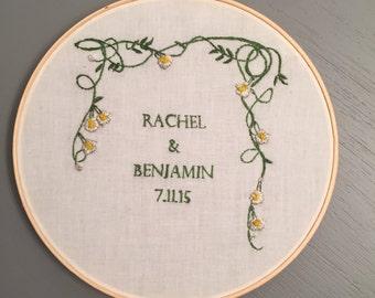 Custom Wedding date keepsake embroidery hoop art