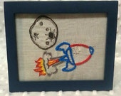 """Rocketship Meteor handmade embroidered framed art 4x6 navy frame Sublime Stitching """"Spaced Out!"""""""