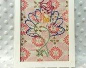 """Pink Mermaid handmade embroidered wall art 5x7 white wooden frame Sublime Stitching """"Under the Sea"""""""