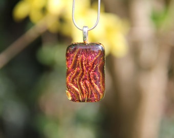Red/pink/orange river dichroic glass pendant,  dichroic glass necklace